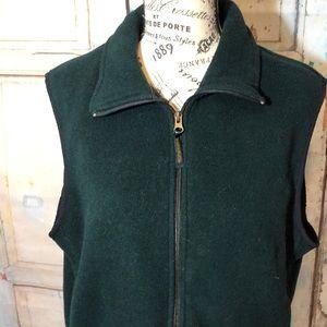 Woolrich Fleece Vest Green Sleeveless Vintage